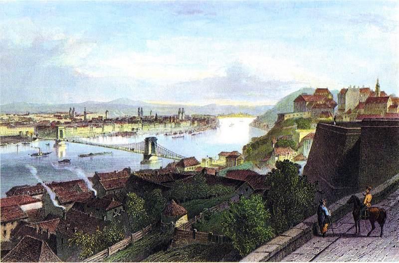 Buda és Pest 1850 körül Adolphe Rouargue ábrázolásán