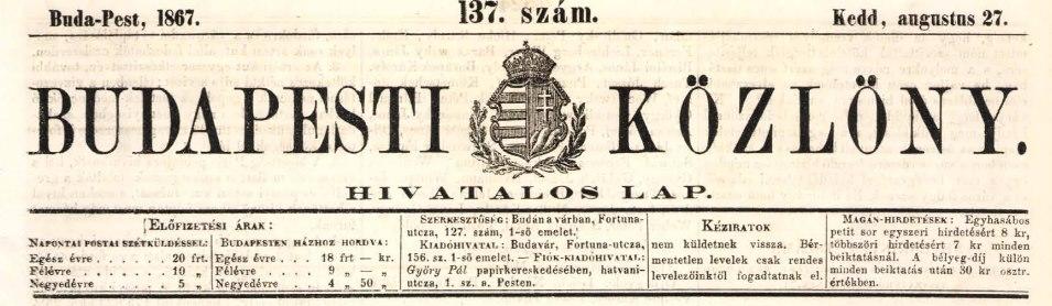 A Budapesti Közlöny 1867. augusztus 27-i címlapjának fejléce