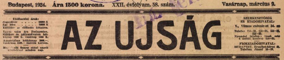 Az Ujság 1924. március 9-i címlapjának fejléce