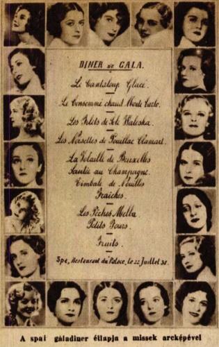 """""""A spaai gáladiner étlapja a missek arcképével"""" – Színházi Élet, 1932/33. szám"""