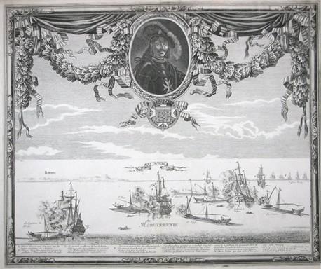 Szövegdoboz: Az 1644. szeptember 28-i tengeri csata. Sébastien Beaulieu de Pontault rézmetszete